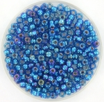 miyuki rocailles 8/0 - silverlined capri blue ab