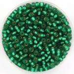 miyuki seed beads 8/0 - silverlined matte emerald