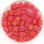 miyuki tila 5x5 mm - transparant matte ab red orange