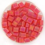 miyuki tila 5x5 mm - transparant matte ab red orange