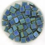 miyuki tila 5x5 mm - metallic matte iris blue green