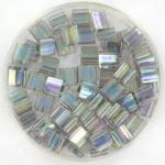 miyuki tila 5x5 mm - transparant luster dark gray rainbow