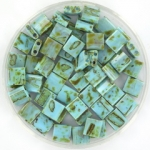 miyuki tila 5x5 mm - opaque picasso turquoise blue