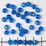 rond met strepen 6 mm - turquoise aqua met ab glans