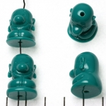 cute monk sitting smiling - turquoise