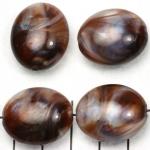 kunststof natuurstenen ovaal 24 mm - bruin schelpenglans