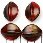 kunststof natuurstenen ovaal 28 mm - rood met goudkleurige glans