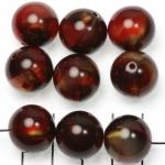 kunststof natuurstenen rond 15 mm - rood met goudkleurige glans