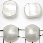 spacer acrylic gemstone 24 mm - white with shell shine