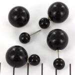 Double pearl oorbellen - zwart met zilverkleurige steker