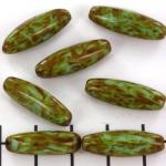 ovaal langwerpig - 22 mm marmereffect bruin groen
