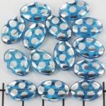 plat ovaal met cirkels - blauw met zilver