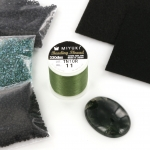 Basispakket bead embroidery - compleet met cabochon 30 x 22 mosagaat donker