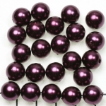 acrylic pearls round 10 mm - aubergine purple