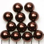kunststof parels rond 14 mm - donkerbruin