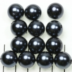 acrylic pearls round 14 mm - anthracite black