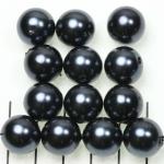 kunststof parels rond 14 mm - antraciet zwart