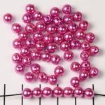 acrylic pearls round 6 mm - dark pink fushia