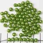 acrylic pearls round 6 mm - chartreuse