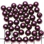 kunststof parels rond 8 mm - aubergine paars