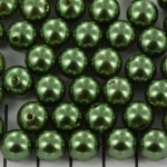 acrylic pearls round 10 mm - green