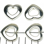 ring  with hole heart 26 mm - silver