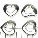 ring met rijggat hart 26 mm - lichtzilver
