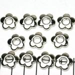 ring met rijggat bloemetje 14 mm - lichtzilver