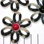 ring met rijggat bloem 43 mm - lichtzilver gesloten met facetten