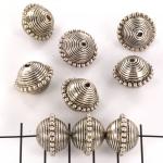 rondel gestreept  - zilver 13 mm