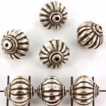 striped rondelle - silver 14 mm