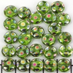 flat round with cirkles 9 mm - green with rainbow