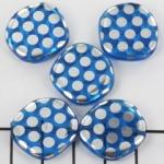 plat rond met cirkels 21 mm - blauw zilver