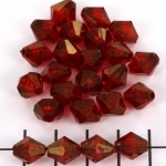 acrylic faceted conical 10 mm - red with golden finish