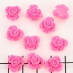 roos met blad 10 mm - fel roze
