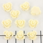 roos met blad 10 mm - creme wit