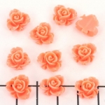 rose with leaf 10 mm - salmon pink