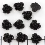 roos met blad 10 mm - zwart
