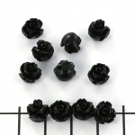 rose with leaf round 8 mm - black