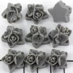 rose with leaves 17 mm - titanium