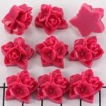 roos met blaadjes 17 mm - roze
