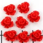 roos met blad 10 mm - rood