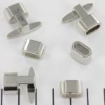 metalen haakslot met kraal - zilver ovaal
