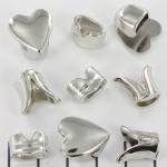 metalen haakslot met kraal - zilver hart