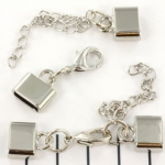 metalen kapje met slotje en verlengketting - zilver 12mm