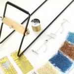 Starterspakket weven - blauw bruin met zilveren slotjes
