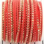 imitatie suède leer met strass goud 3 mm - koraal oranje