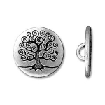 tree of life button 16 mm - zilver