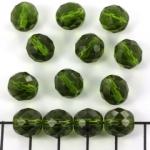 Tsjechisch facet rond 10 mm - donkergroen olivine