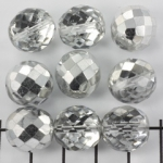 Tsjechisch facet rond 14 mm - transparant met zilveren glans